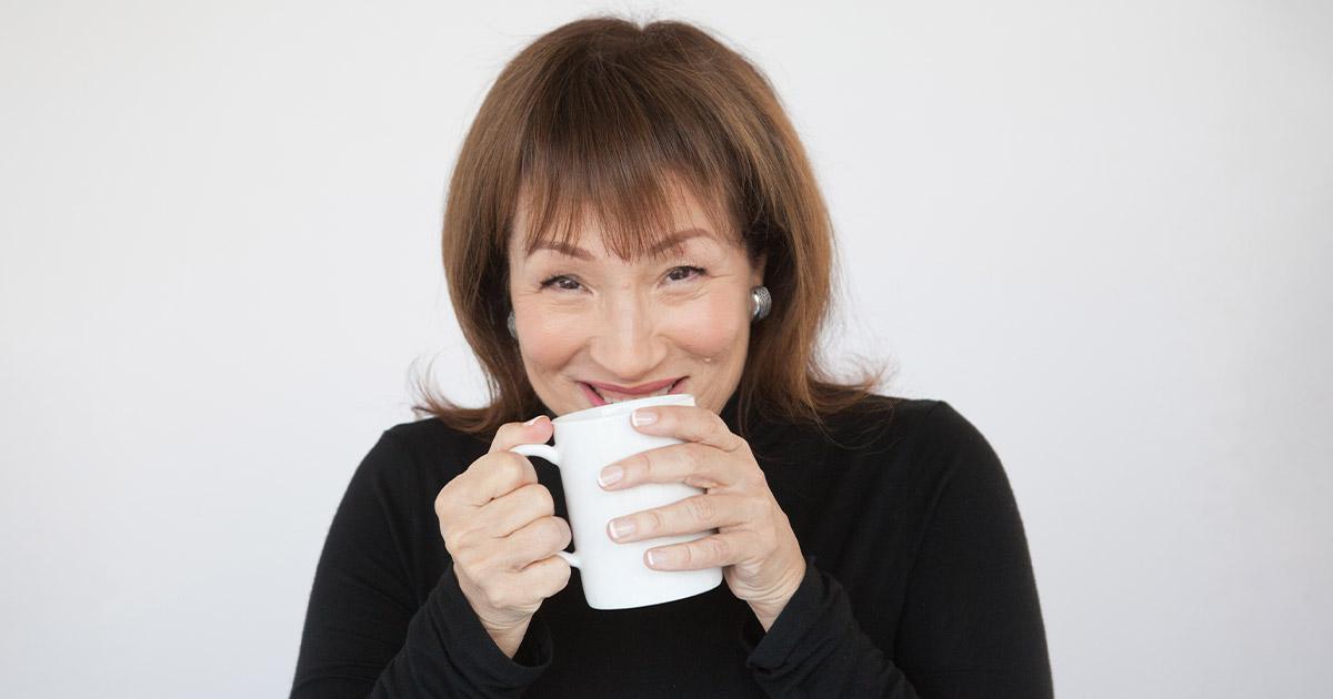 Evelyn Tribole Drinking Coffee