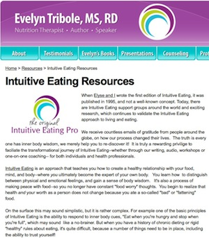Screen Shot Intuitive Eating Resources
