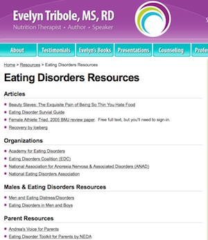 Screen Shot Eating Disorder Resources